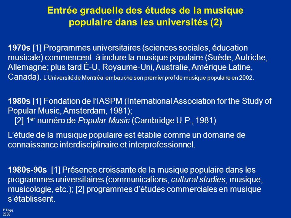 Entrée graduelle des études de la musique populaire dans les universités (2)