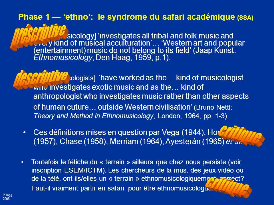 Phase 1 — 'ethno': le syndrome du safari académique (SSA)
