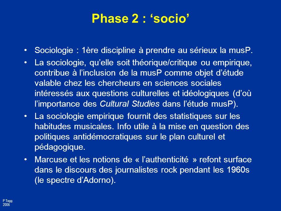 Phase 2 : 'socio' Sociologie : 1ère discipline à prendre au sérieux la musP.