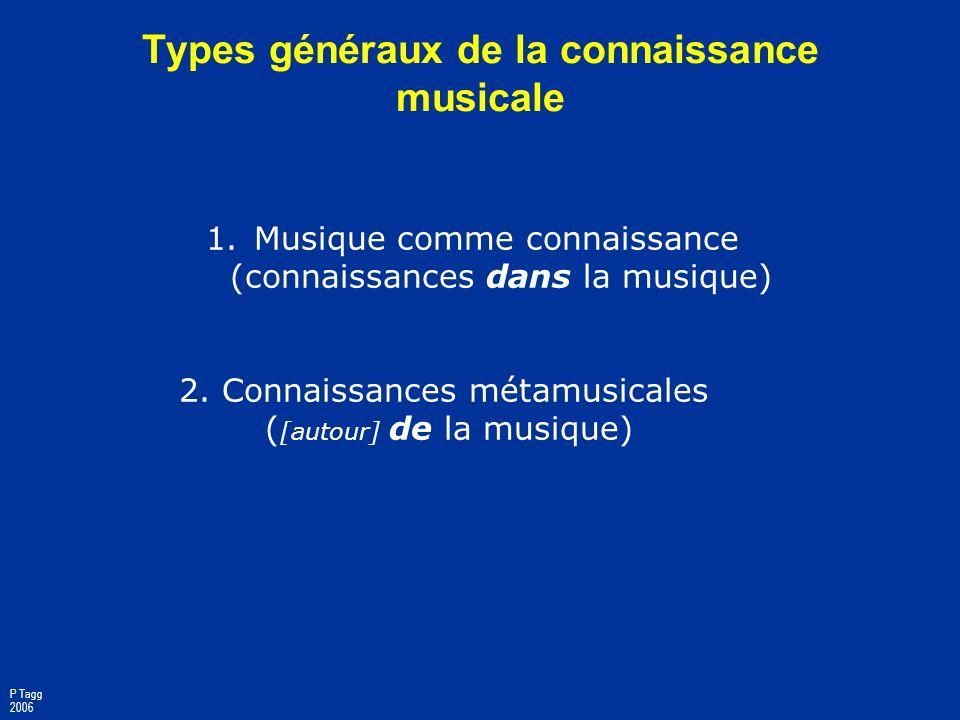 Types généraux de la connaissance musicale