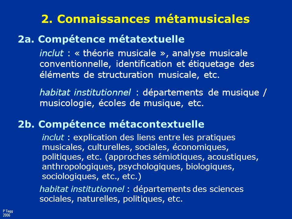 2. Connaissances métamusicales