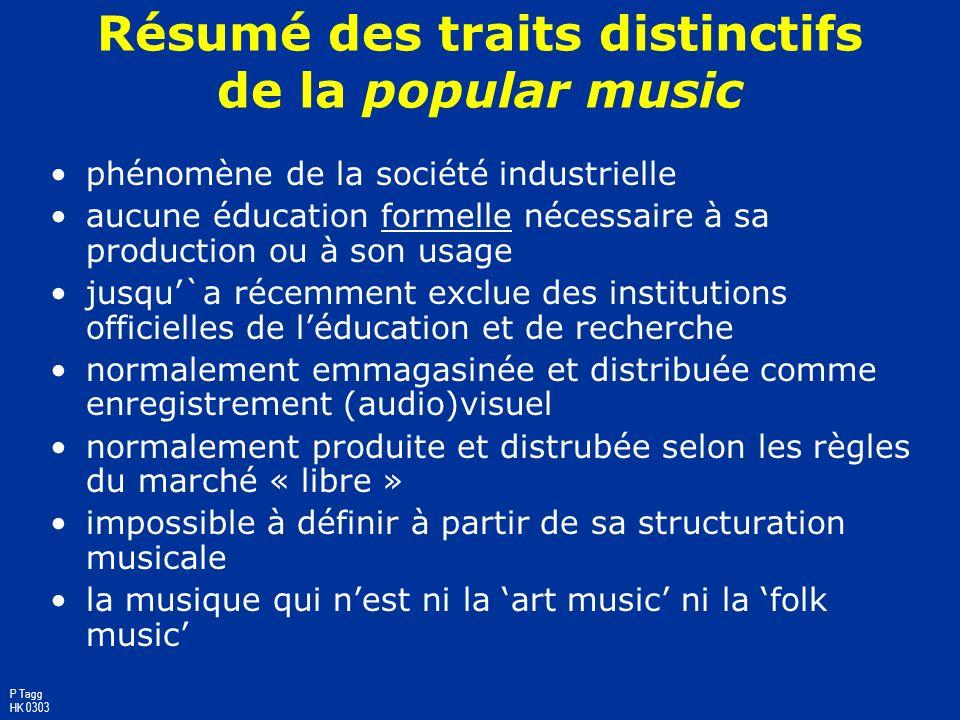 Résumé des traits distinctifs de la popular music