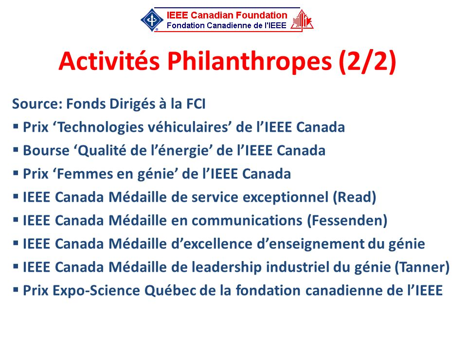 Activités Philanthropes (2/2)