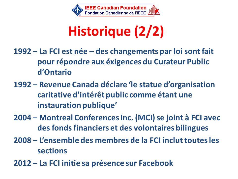 Historique (2/2) 1992 – La FCI est née – des changements par loi sont fait pour répondre aux éxigences du Curateur Public d'Ontario.