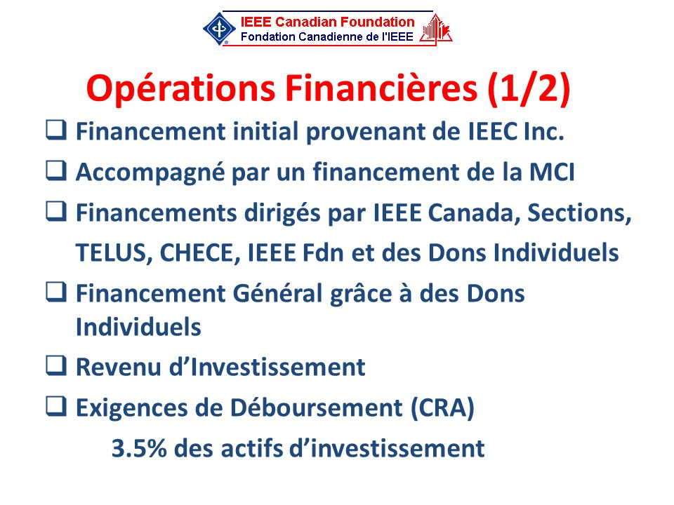 Opérations Financières (1/2)