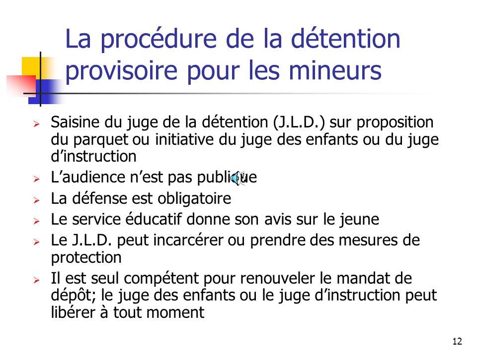 La procédure de la détention provisoire pour les mineurs