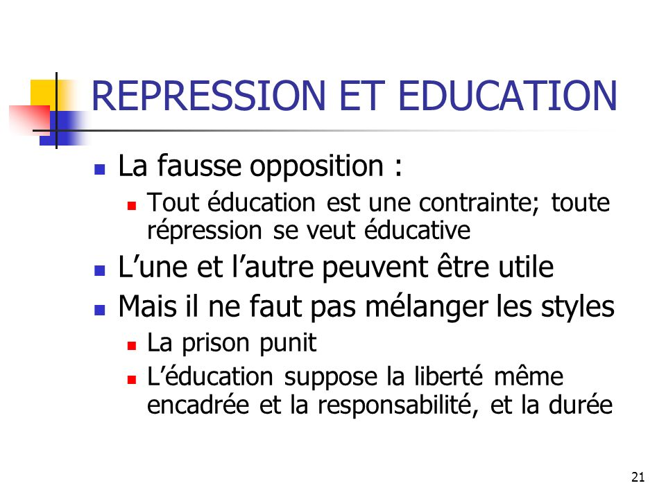REPRESSION ET EDUCATION