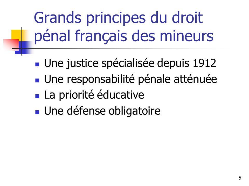 Grands principes du droit pénal français des mineurs