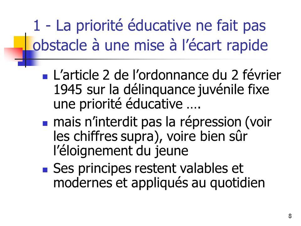 1 - La priorité éducative ne fait pas obstacle à une mise à l'écart rapide