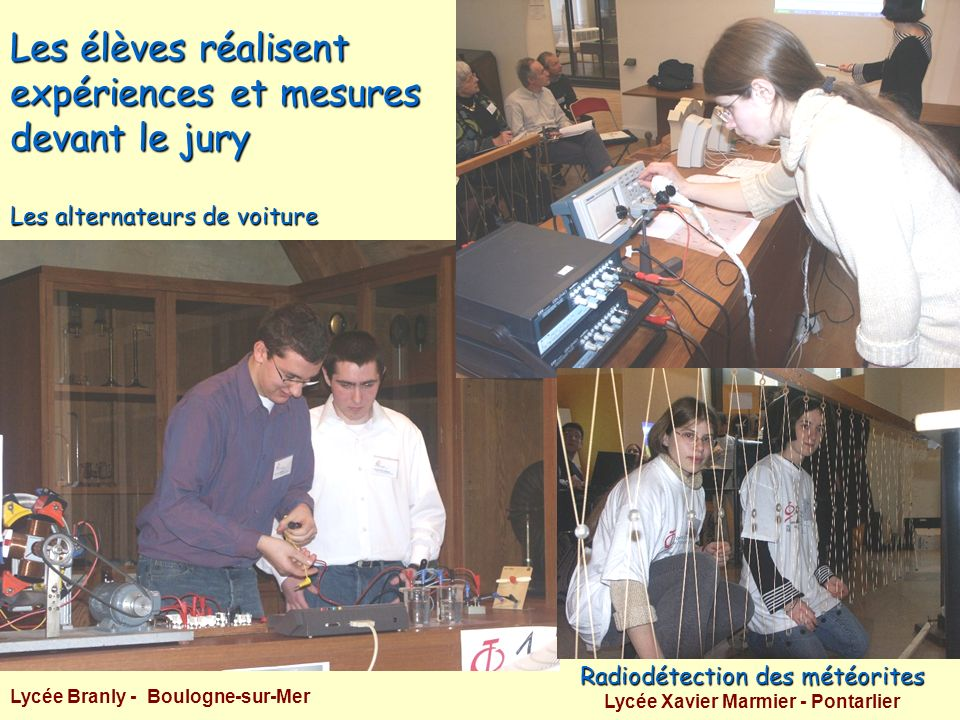 Les élèves réalisent expériences et mesures devant le jury