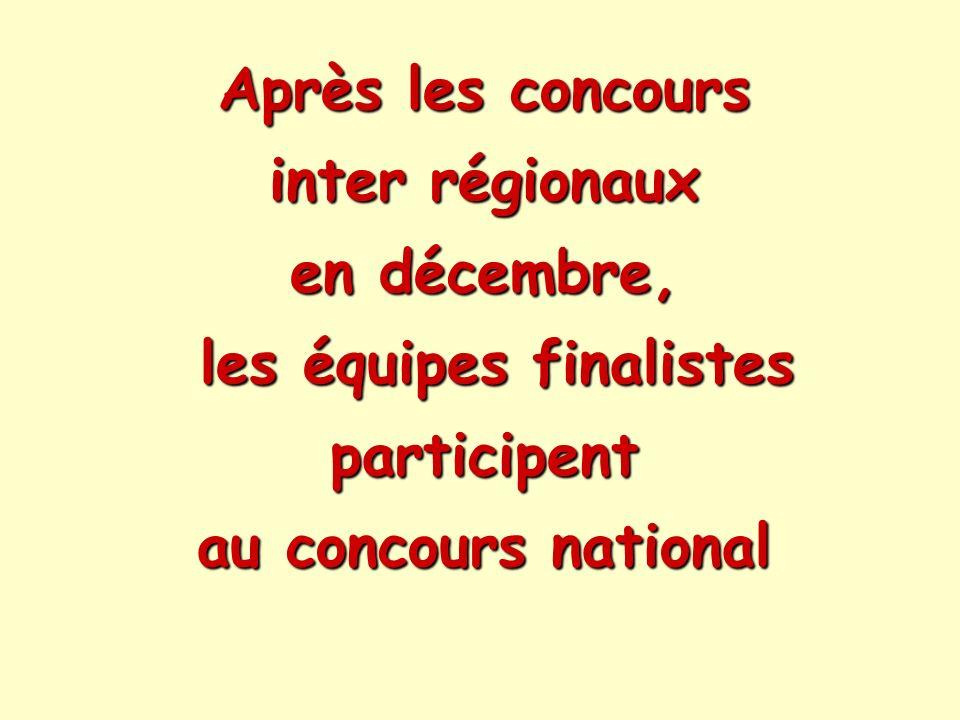 Après les concours inter régionaux en décembre, les équipes finalistes participent au concours national