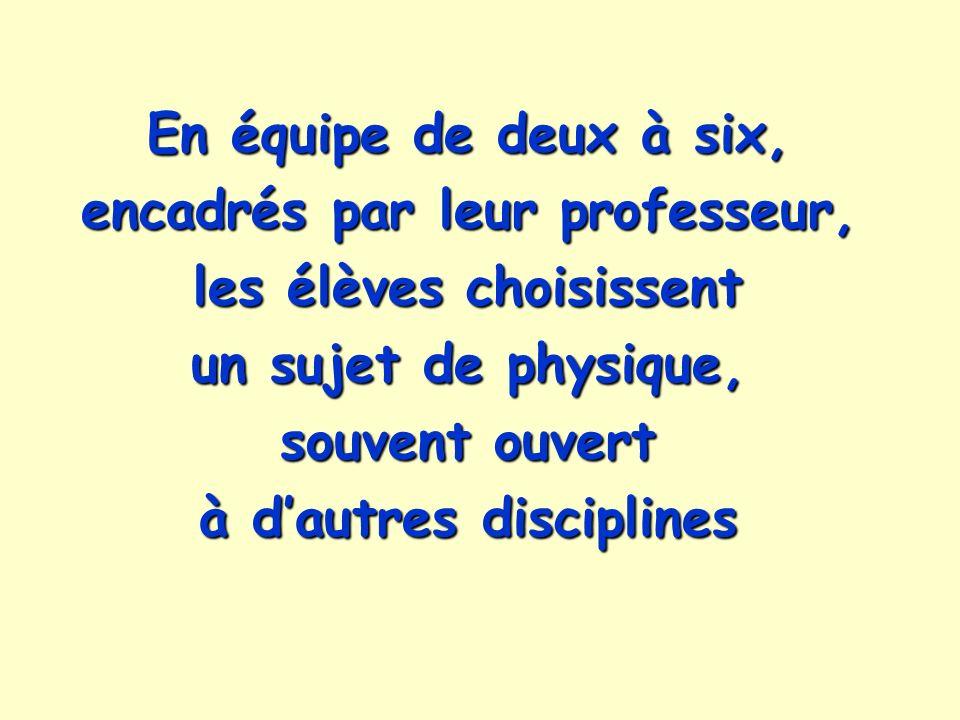 En équipe de deux à six, encadrés par leur professeur, les élèves choisissent un sujet de physique, souvent ouvert à d'autres disciplines