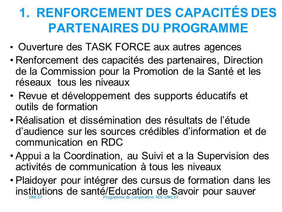 1. RENFORCEMENT DES CAPACITÉS DES PARTENAIRES DU PROGRAMME