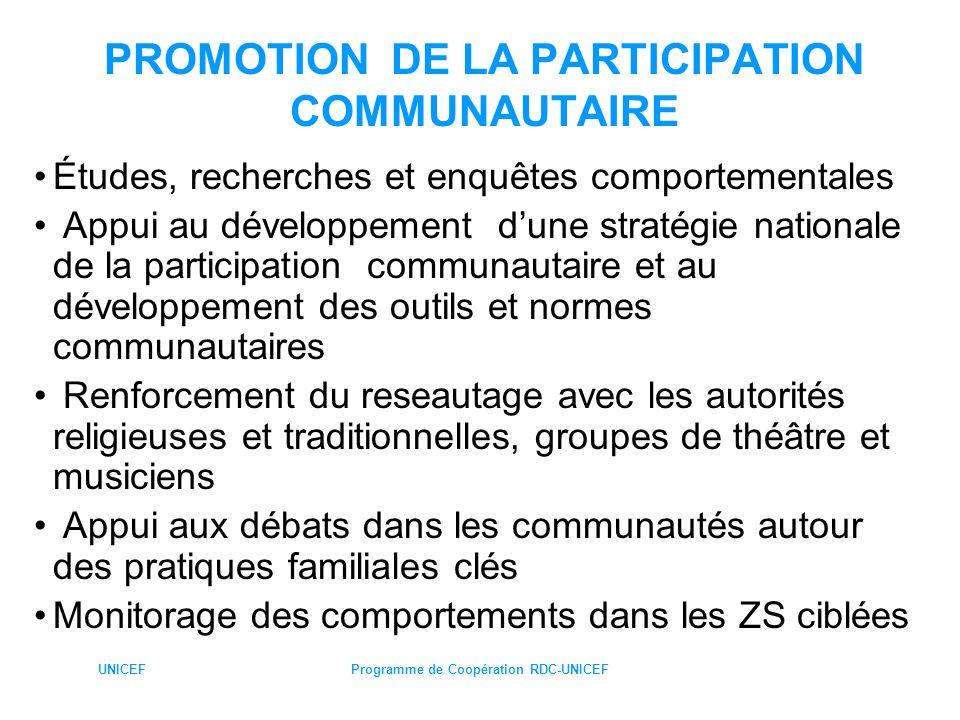 PROMOTION DE LA PARTICIPATION COMMUNAUTAIRE