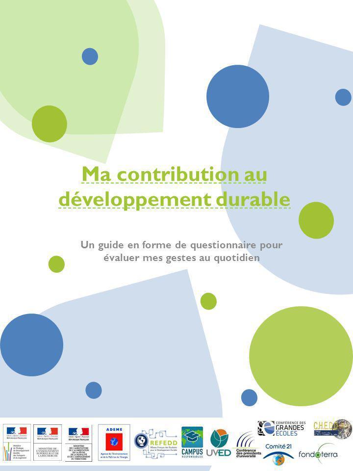Ma contribution au développement durable
