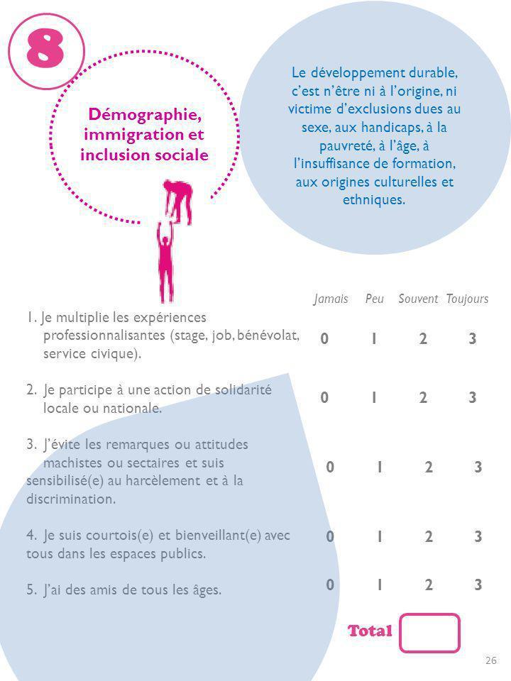 Démographie, immigration et inclusion sociale