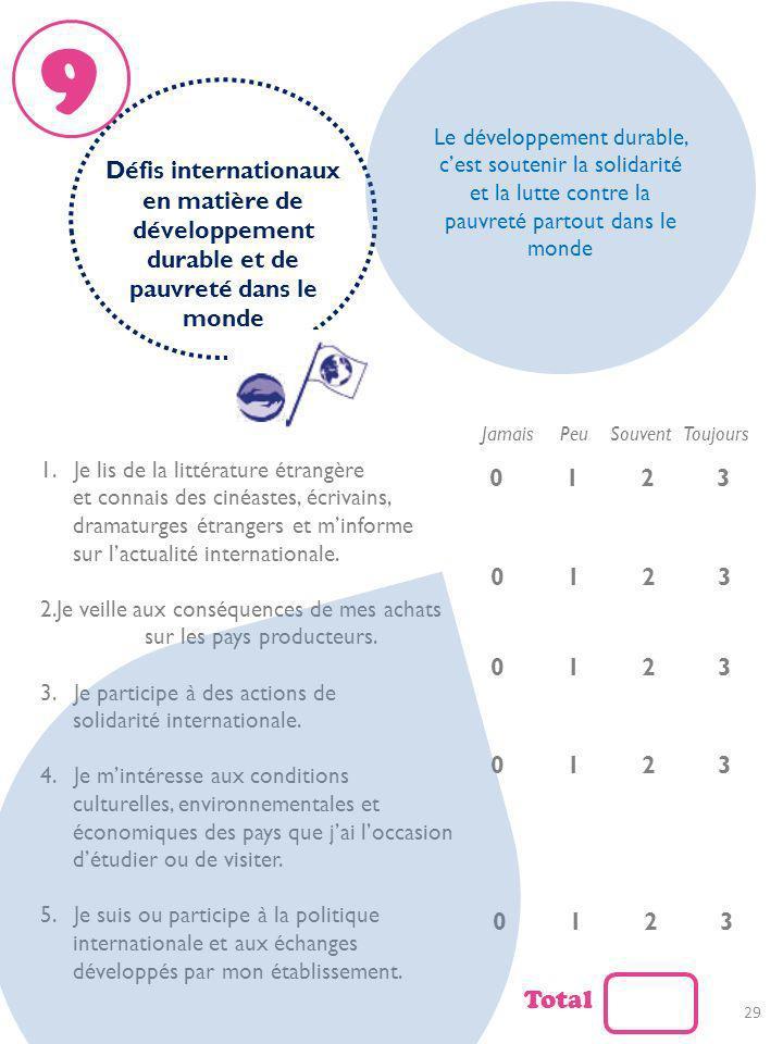 9Le développement durable, c'est soutenir la solidarité et la lutte contre la pauvreté partout dans le monde.