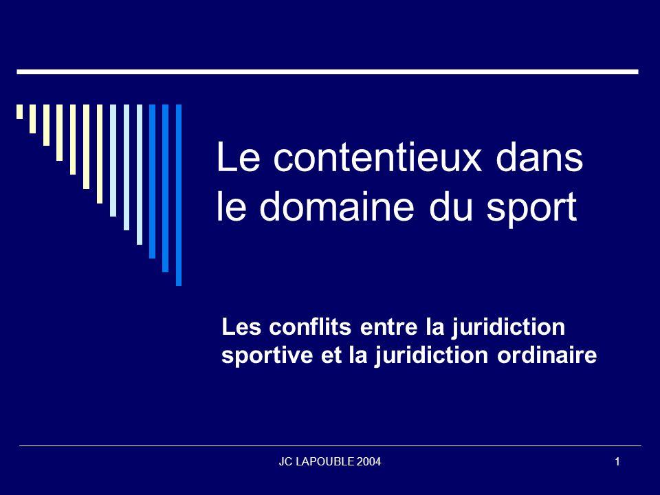 Le contentieux dans le domaine du sport
