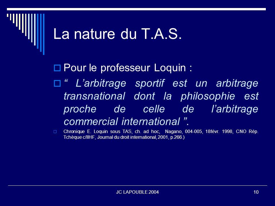 La nature du T.A.S. Pour le professeur Loquin :