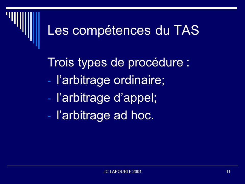 Les compétences du TAS Trois types de procédure :