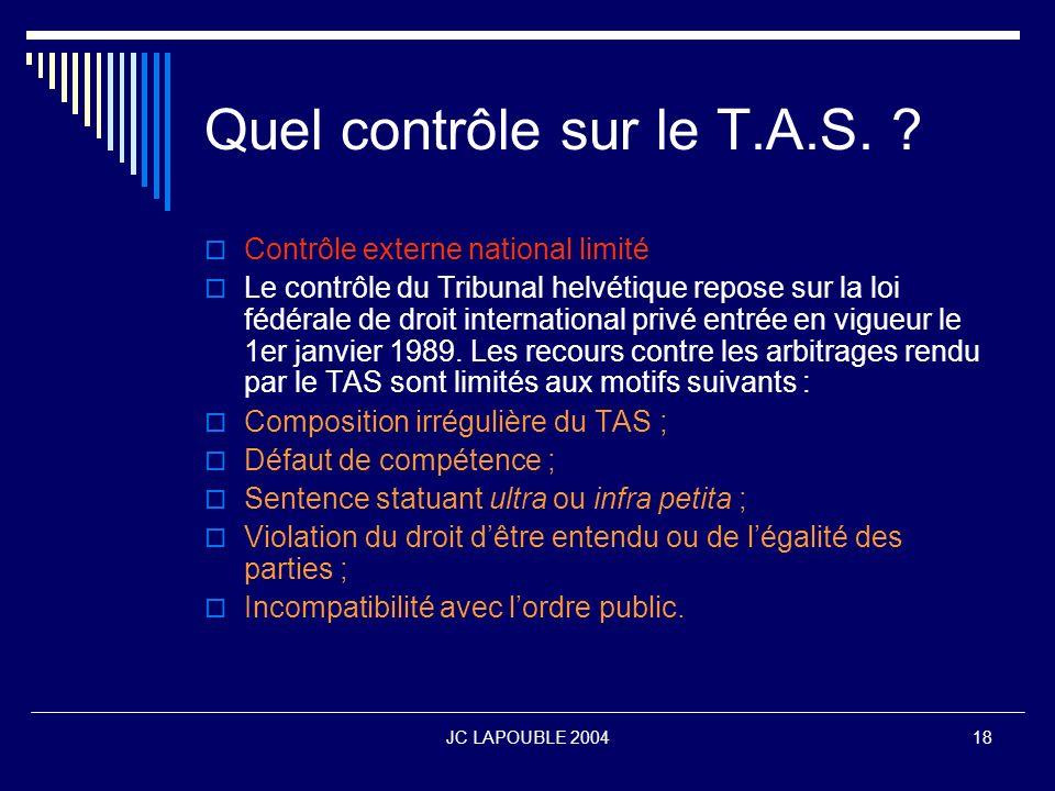 Quel contrôle sur le T.A.S.