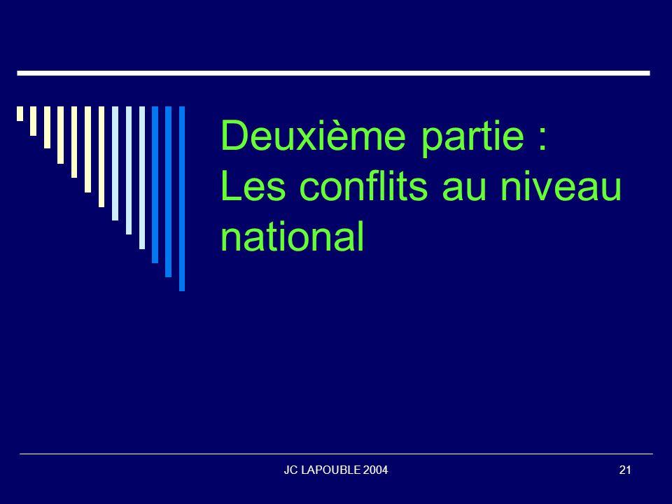 Deuxième partie : Les conflits au niveau national