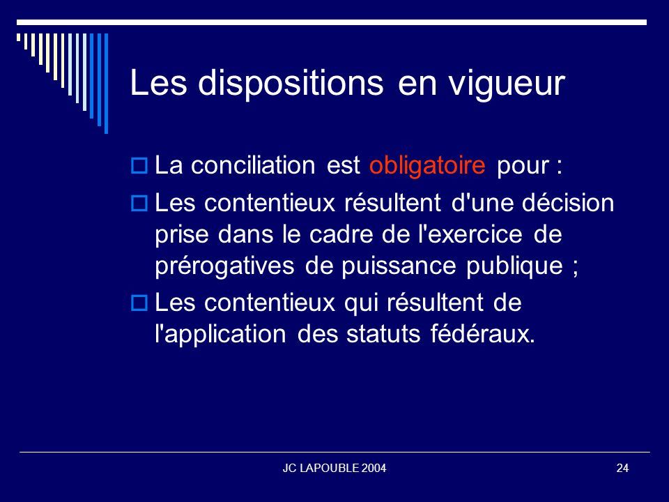 Les dispositions en vigueur