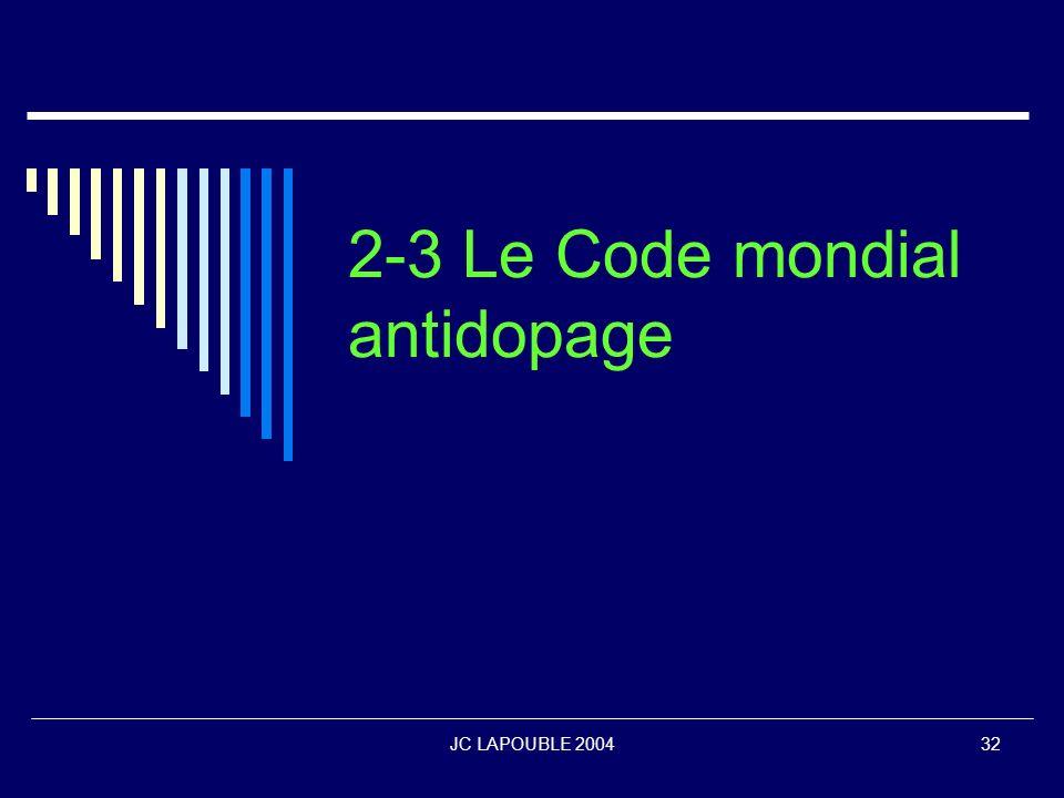 2-3 Le Code mondial antidopage