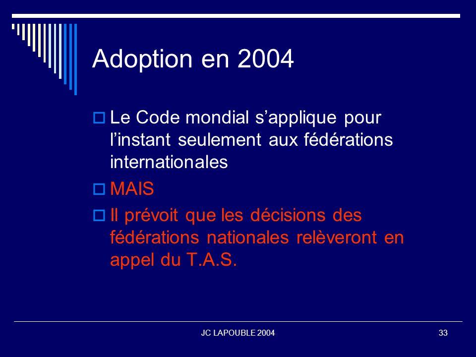 Adoption en 2004Le Code mondial s'applique pour l'instant seulement aux fédérations internationales.