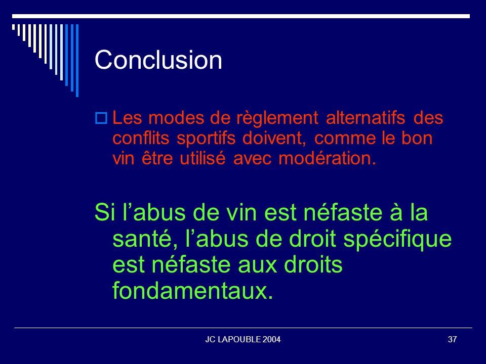 ConclusionLes modes de règlement alternatifs des conflits sportifs doivent, comme le bon vin être utilisé avec modération.