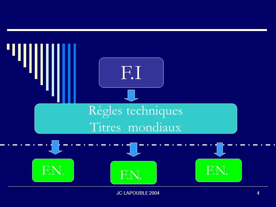 F.I Règles techniques Titres mondiaux F.N. F.N. F.N. JC LAPOUBLE 2004