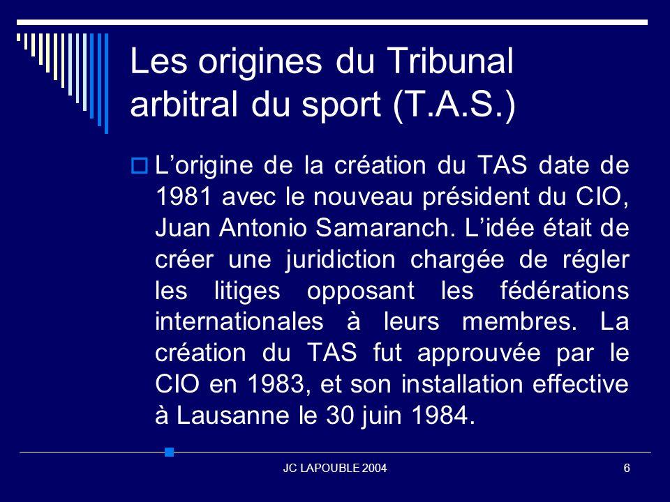 Les origines du Tribunal arbitral du sport (T.A.S.)