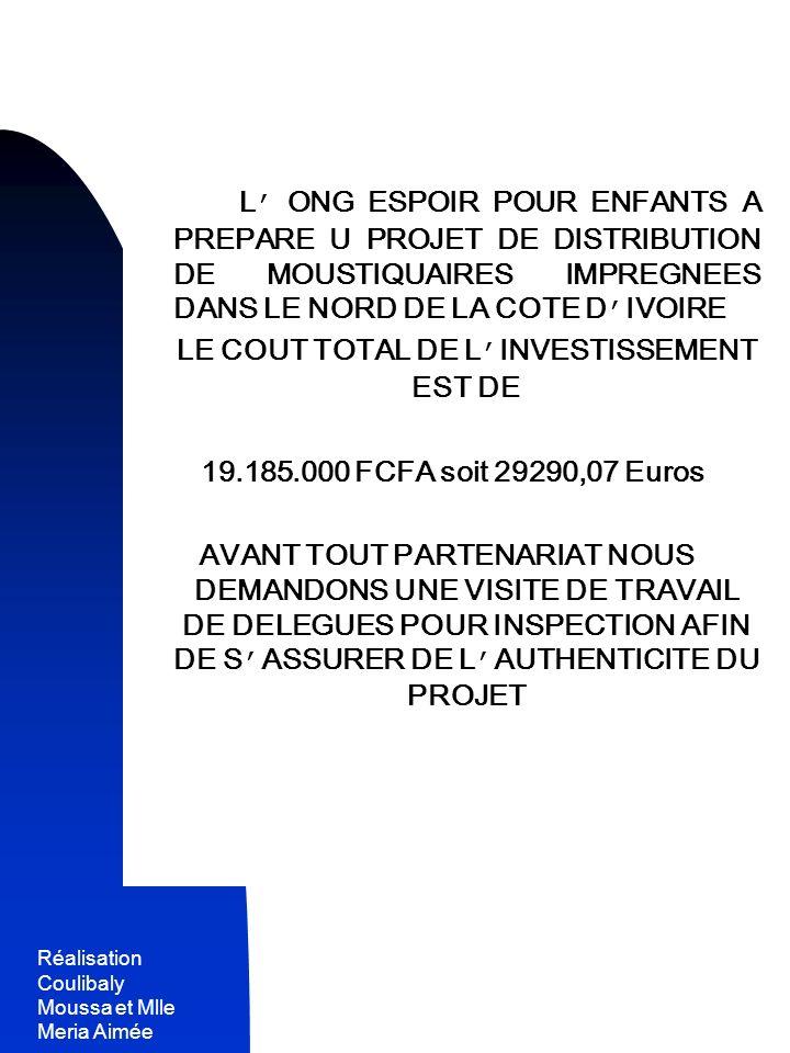 LE COUT TOTAL DE L'INVESTISSEMENT EST DE
