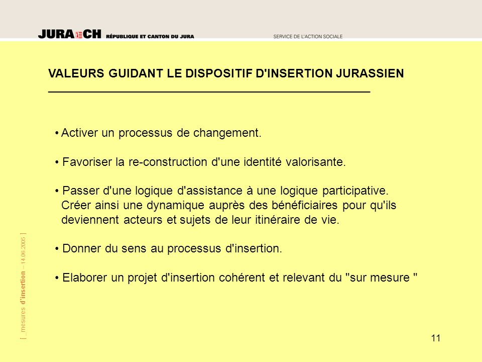 VALEURS GUIDANT LE DISPOSITIF D INSERTION JURASSIEN