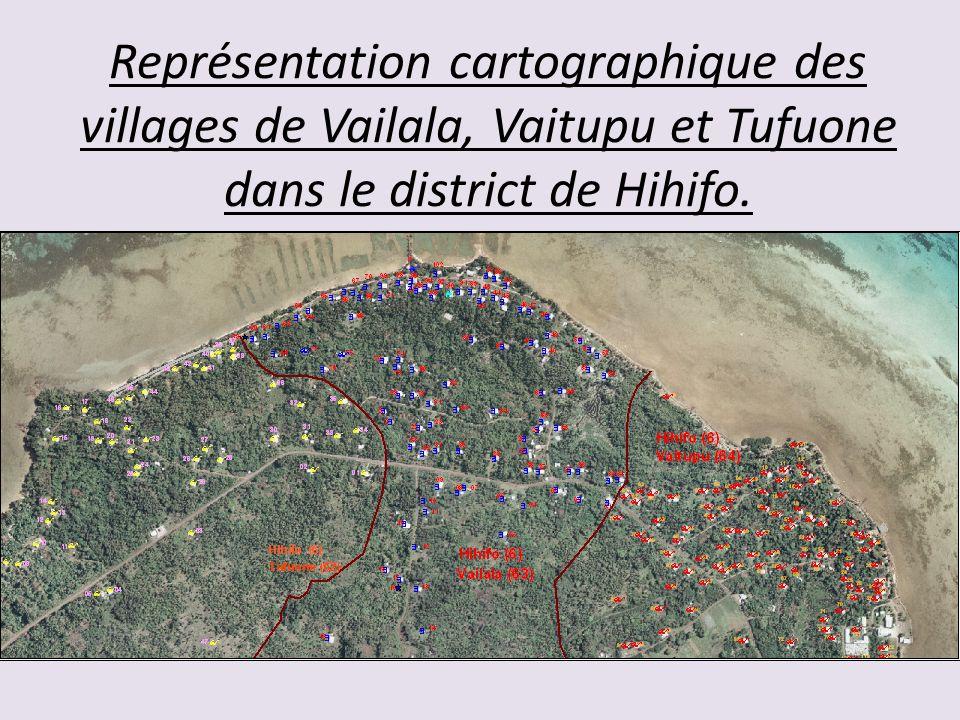 Représentation cartographique des villages de Vailala, Vaitupu et Tufuone dans le district de Hihifo.