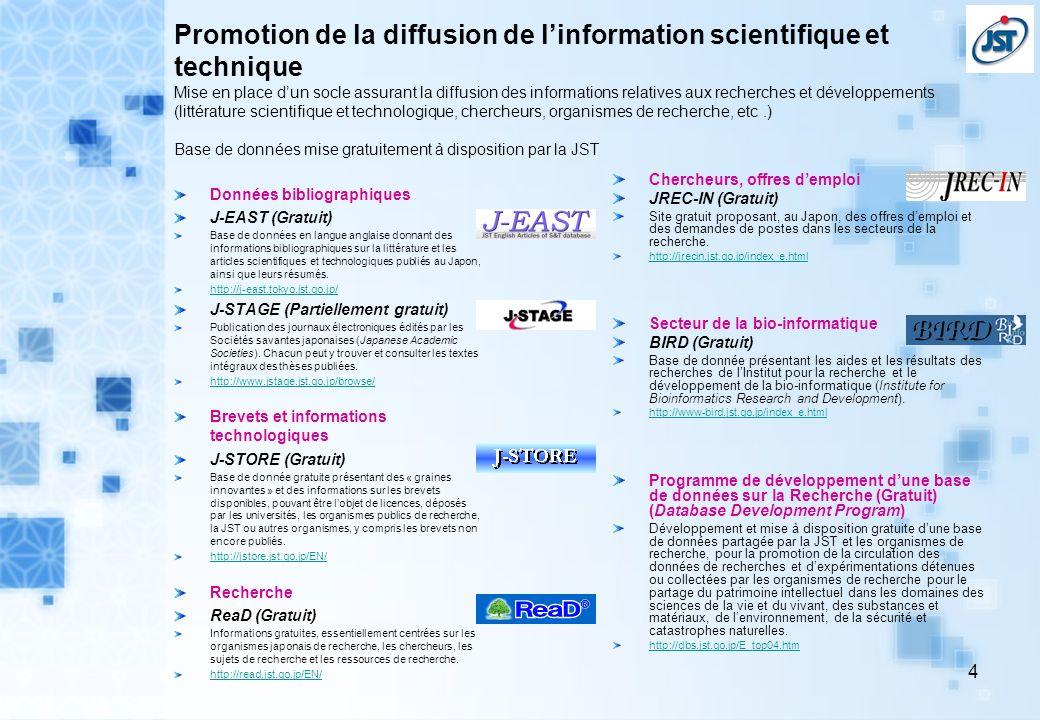 Promotion de la diffusion de l'information scientifique et technique Mise en place d'un socle assurant la diffusion des informations relatives aux recherches et développements (littérature scientifique et technologique, chercheurs, organismes de recherche, etc .) Base de données mise gratuitement à disposition par la JST