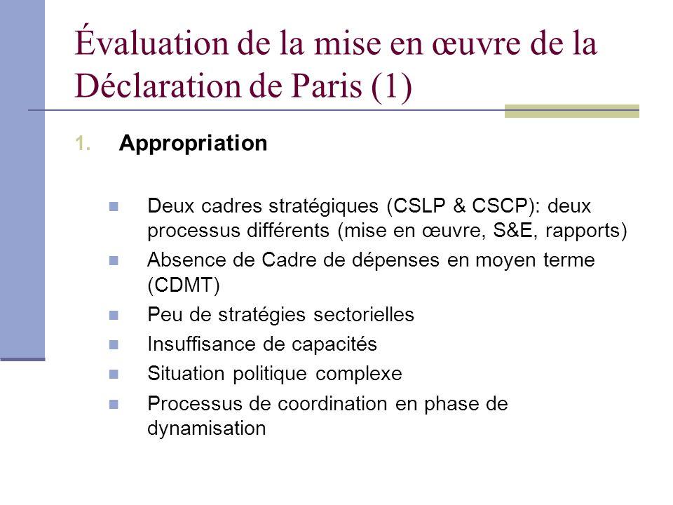 Évaluation de la mise en œuvre de la Déclaration de Paris (1)