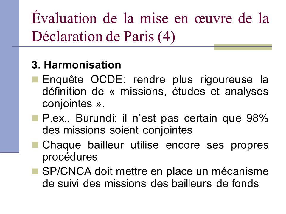 Évaluation de la mise en œuvre de la Déclaration de Paris (4)