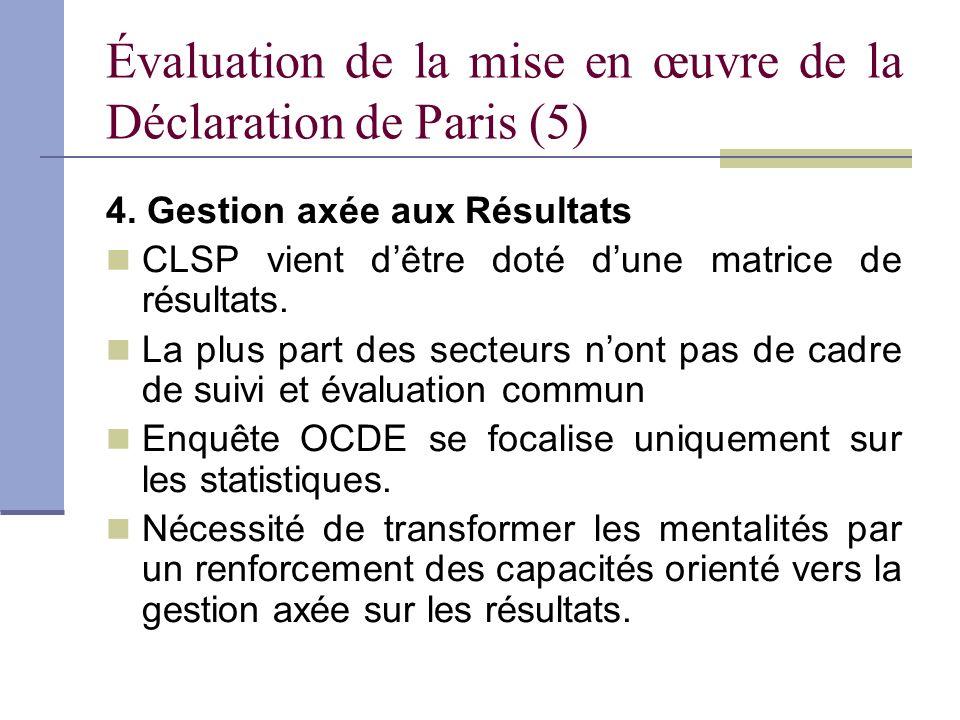 Évaluation de la mise en œuvre de la Déclaration de Paris (5)