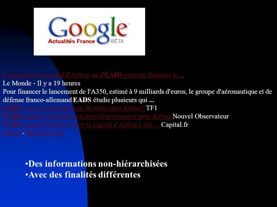 Des informations non-hiérarchisées Avec des finalités différentes