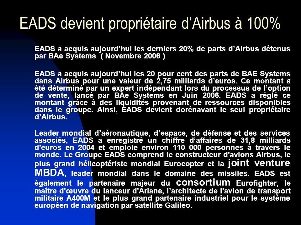 EADS devient propriétaire d'Airbus à 100%