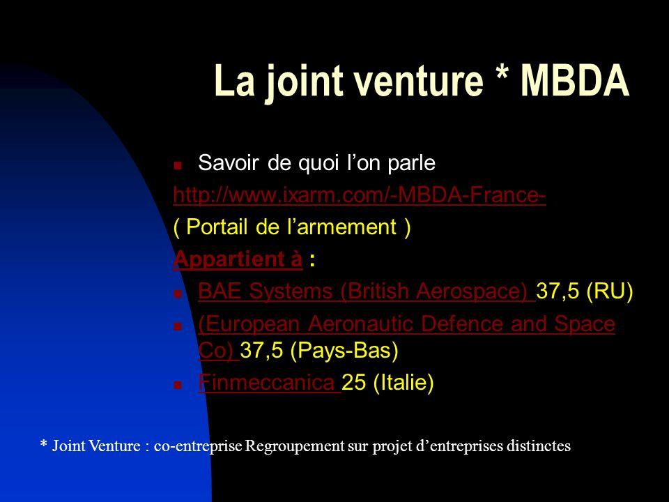 La joint venture * MBDA Savoir de quoi l'on parle