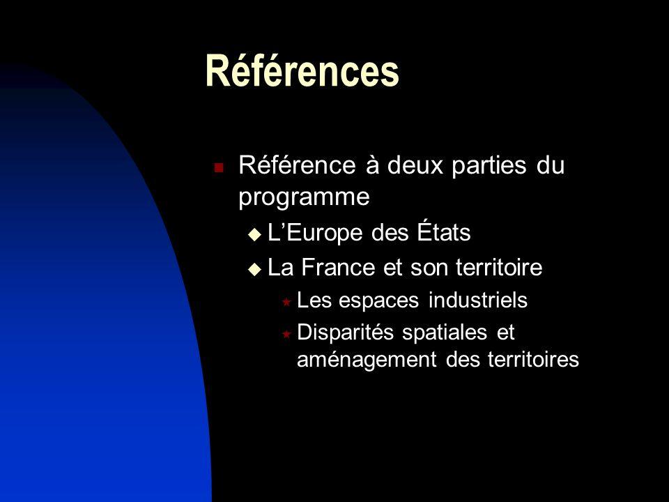 Références Référence à deux parties du programme L'Europe des États