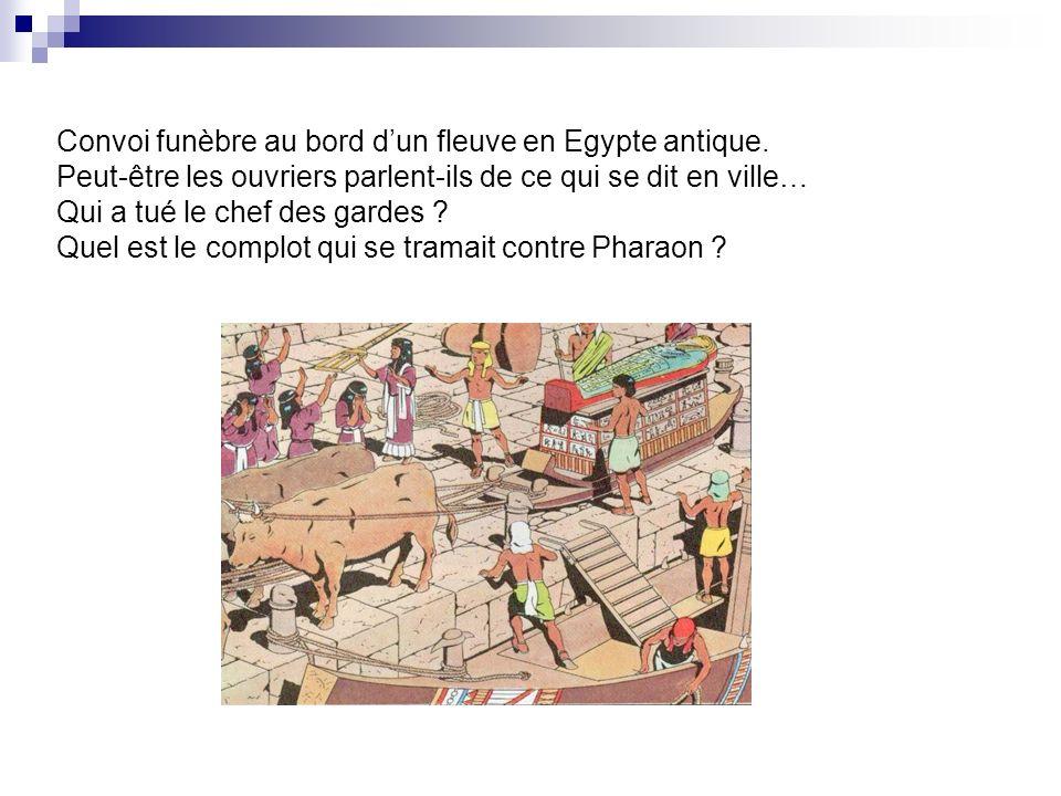 Convoi funèbre au bord d'un fleuve en Egypte antique
