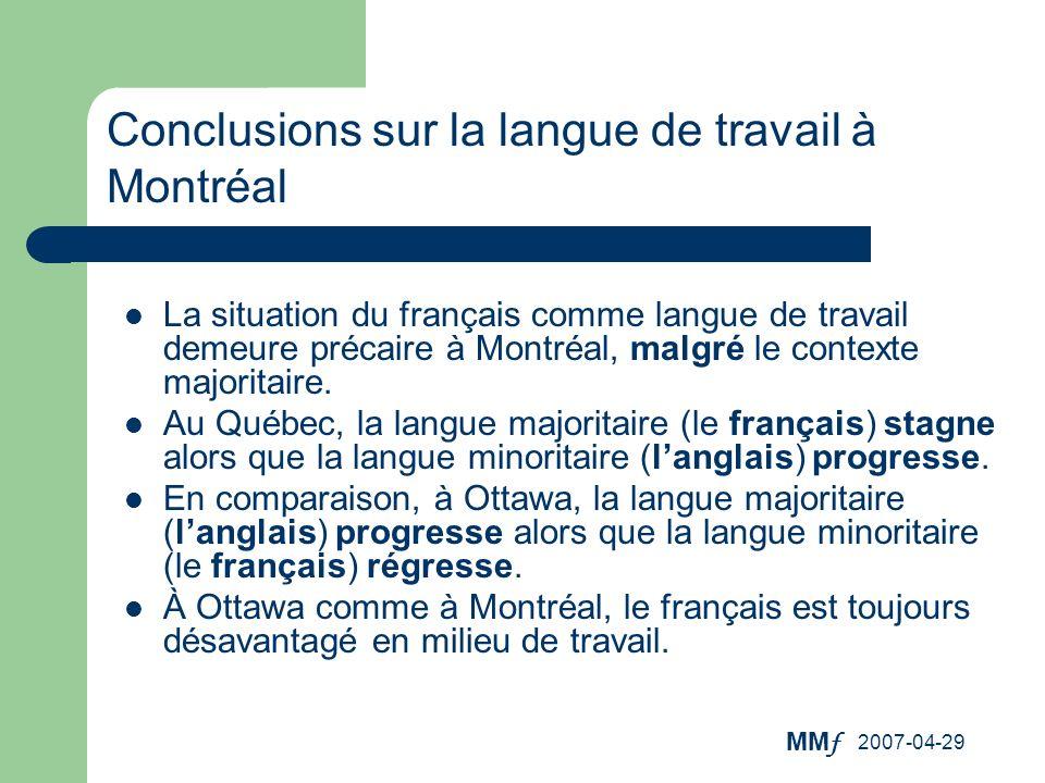 Conclusions sur la langue de travail à Montréal