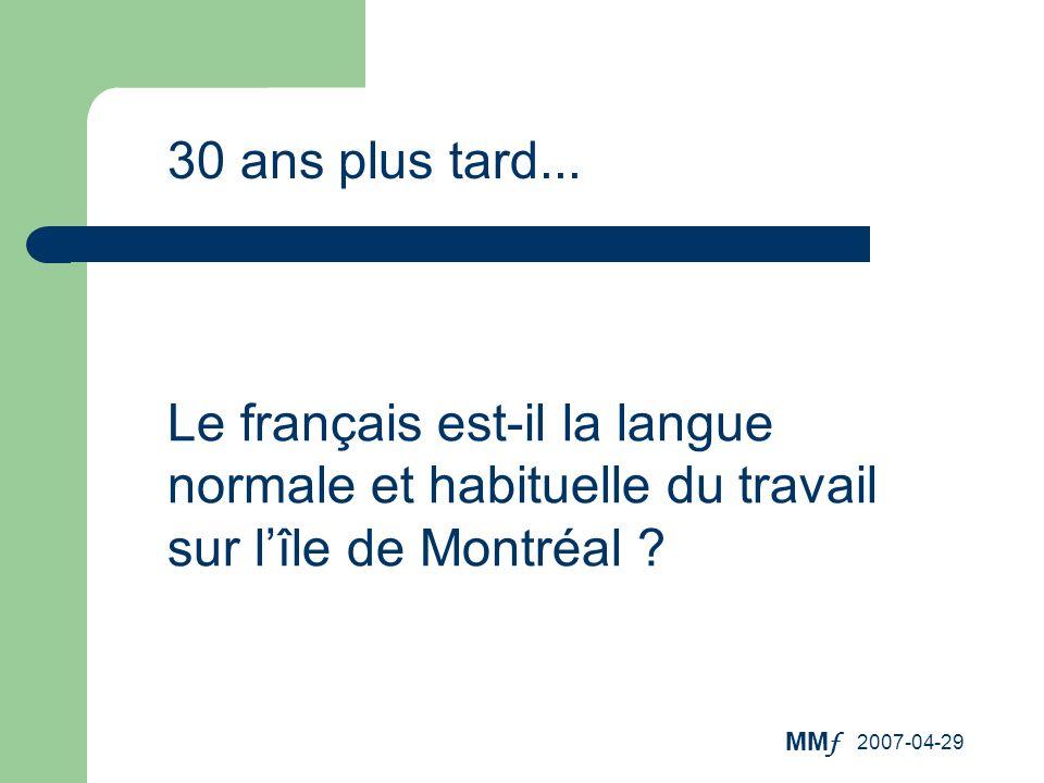 30 ans plus tard... Le français est-il la langue normale et habituelle du travail sur l'île de Montréal