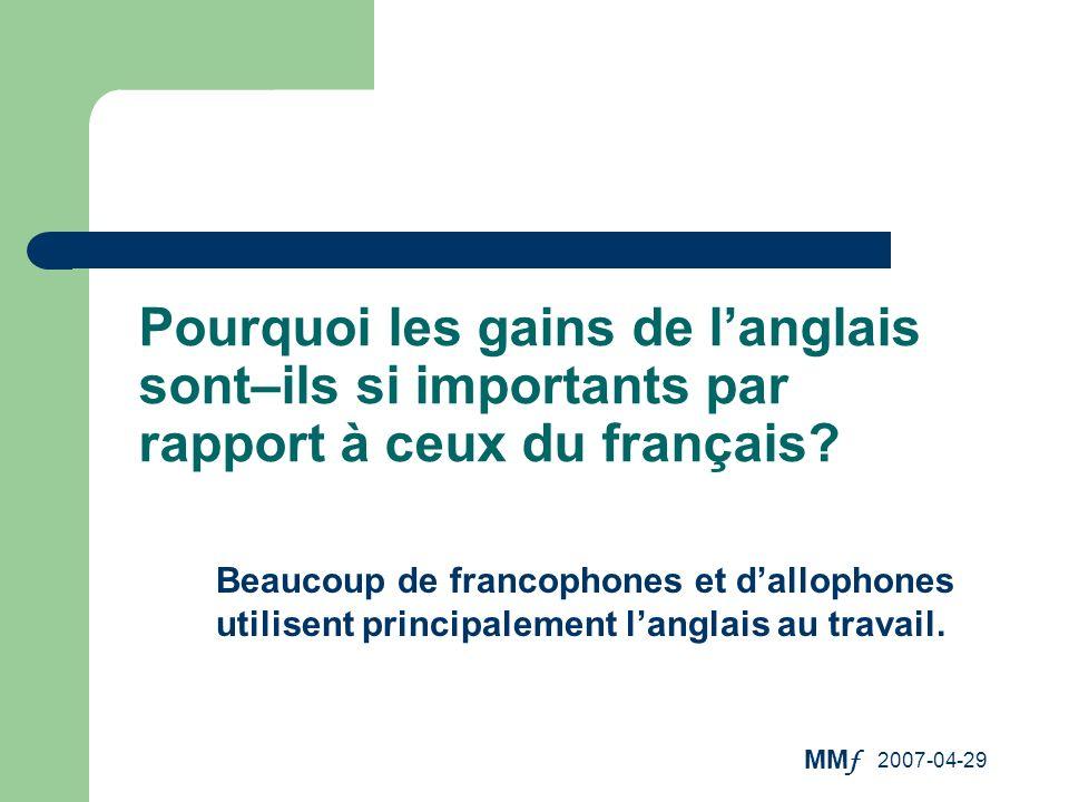Pourquoi les gains de l'anglais sont–ils si importants par rapport à ceux du français