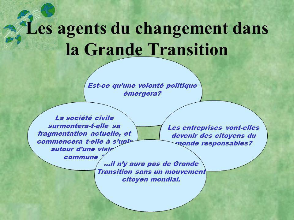 Les agents du changement dans la Grande Transition