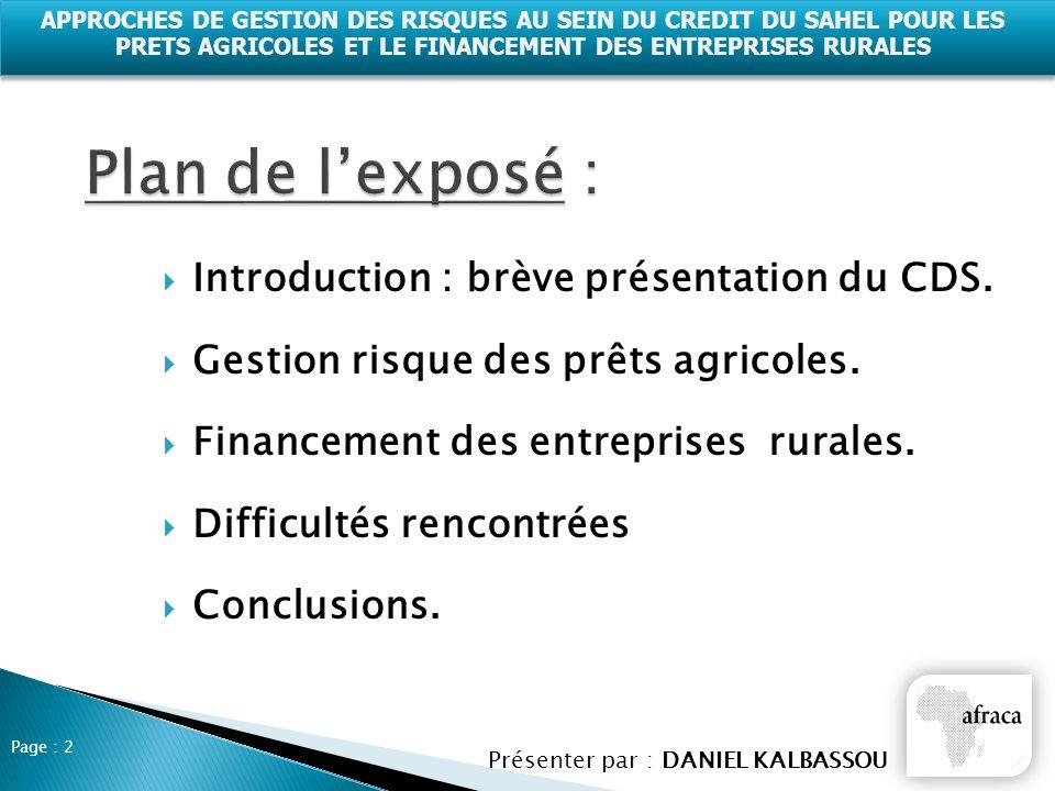 Plan de l'exposé : Introduction : brève présentation du CDS.