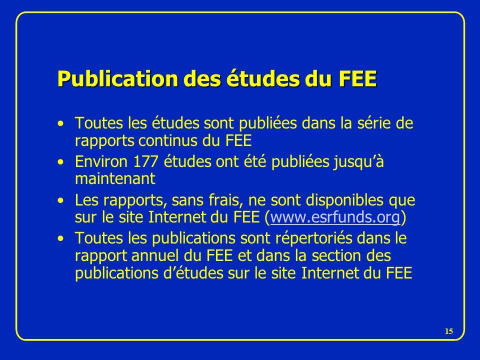 Publication des études du FEE